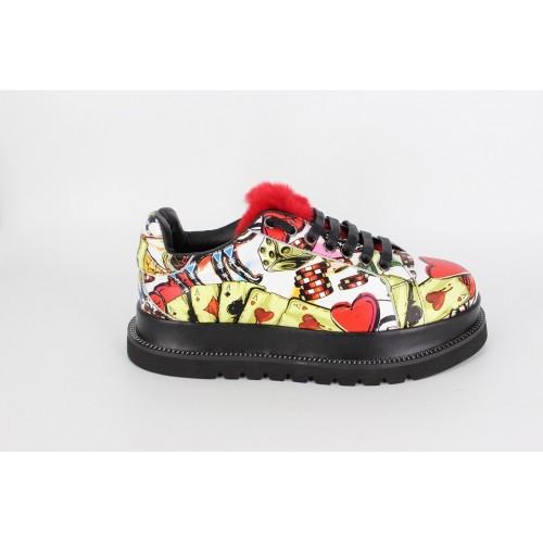 Pantofi dama graffiti red